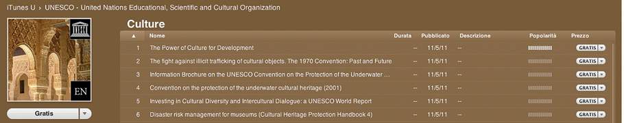 Culture di Unesco su iTunes U