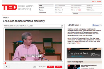 Eric Giler demos wireless electricity.